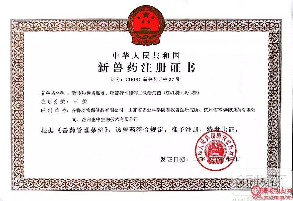 齐鲁动保喜获猪传染性胃肠炎、猪流行性腹泻二联活疫苗新兽药证书